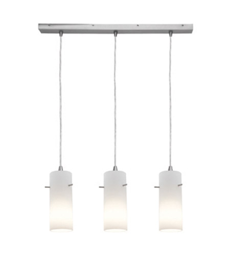 Access Lighting Inari Silk 3 Light Maxi Pendant in Brushed Steel 52630-BS/OPL photo