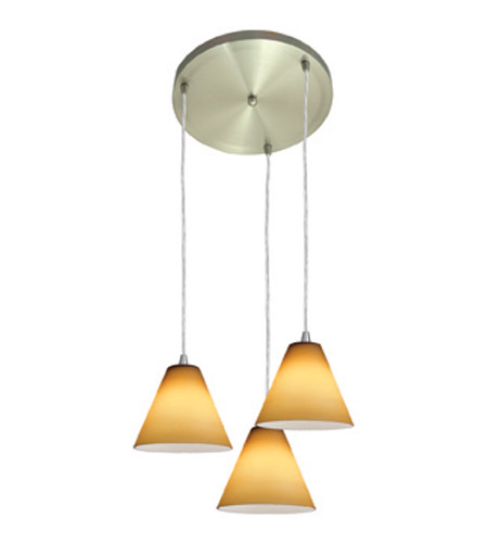 Access Lighting Inari Silk 3 Light Maxi Pendant in Brushed Steel 52804-BS/AMB photo