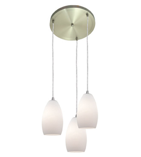 Access Lighting Inari Silk 3 Light Maxi Pendant in Brushed Steel 52812-BS/OPL photo