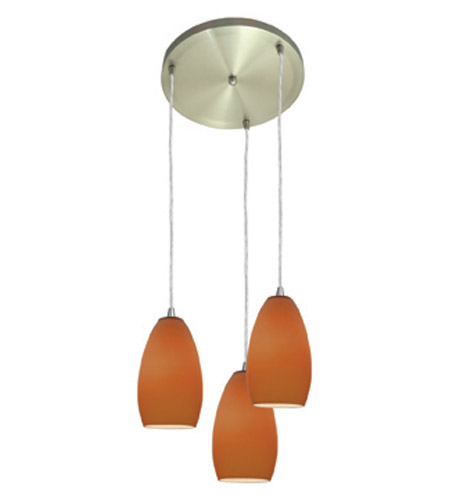 Access Lighting Inari Silk 3 Light Maxi Pendant in Brushed Steel 52812-BS/PLM photo