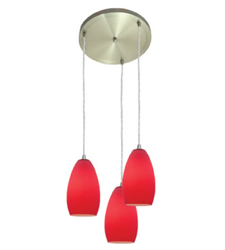 Access Lighting Inari Silk 3 Light Maxi Pendant in Brushed Steel 52812-BS/RED photo