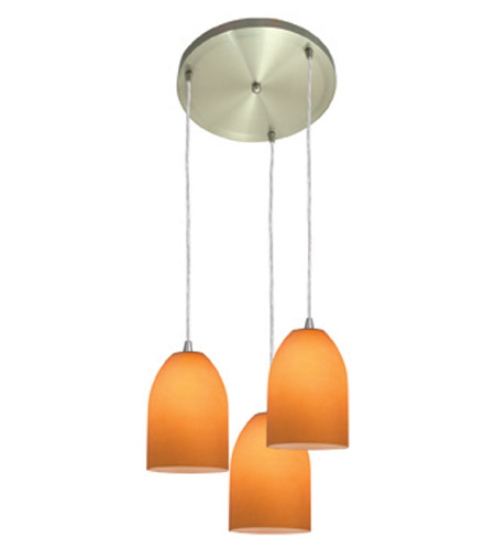 Access Lighting Inari Silk 3 Light Maxi Pendant in Brushed Steel 52818-BS/AMB photo