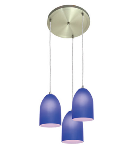 Access Lighting Inari Silk 3 Light Maxi Pendant in Brushed Steel 52818-BS/COB photo