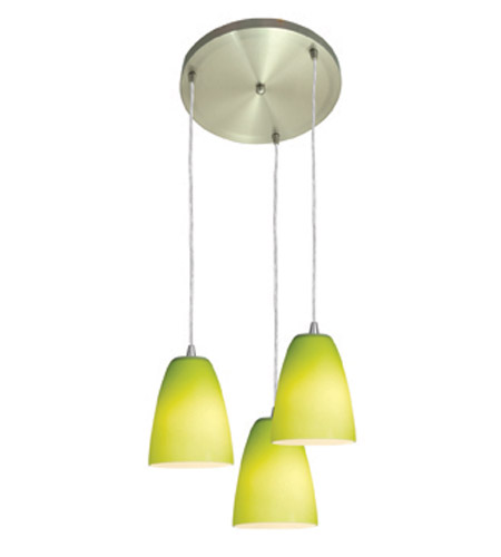 Access Lighting Inari Silk 3 Light Maxi Pendant in Brushed Steel 52822-BS/LGR photo