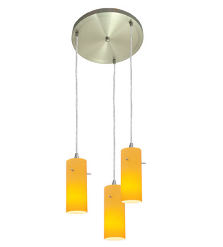 Access Lighting Inari Silk 3 Light Maxi Pendant in Brushed Steel 52830-BS/AMB photo