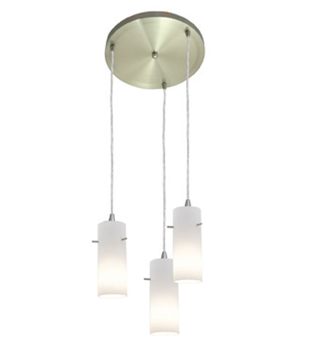 Access Lighting Inari Silk 3 Light Maxi Pendant in Brushed Steel 52830-BS/OPL photo