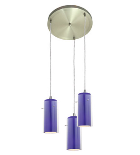Access Lighting Glass in Glass 3 Light Maxi Pendant in Brushed Steel 52833-BS/CLCB photo