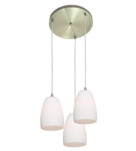 Access Lighting Inari Silk 3 Light Maxi Pendant in Brushed Steel 52869-BS/OPL photo