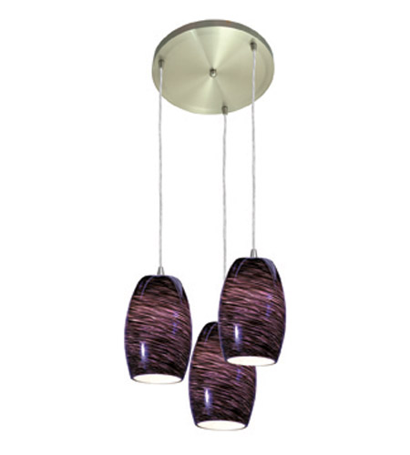 Access Lighting Swirl 3 Light Maxi Pendant in Brushed Steel 52878-BS/PLS photo