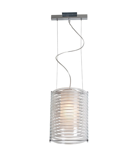 Access Lighting Enzo 1 Light Acrylic Pendant in Brushed Steel 55525-BS/ACLR photo