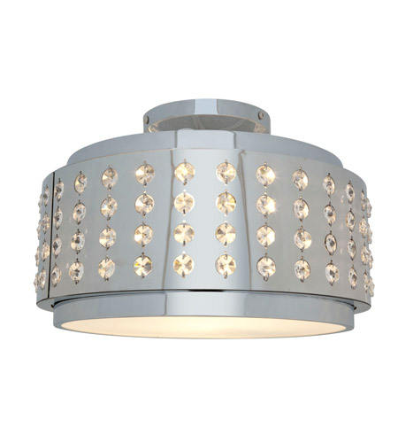Access Lighting Aura 1 Light Crystal and Chrome Flushmount in Chrome with Crystal Accents Glass 62276-CH/CRY photo