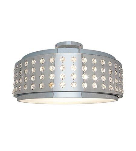 Access Lighting Aura 2 Light Crystal and Chrome Flushmount in Chrome with Crystal Accents Glass 62277-CH/CRY photo