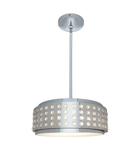 Access Lighting Aura 2 Light Crystal and Chrome Pendant in Chrome with Crystal Accents Glass 62279-CH/CRY photo