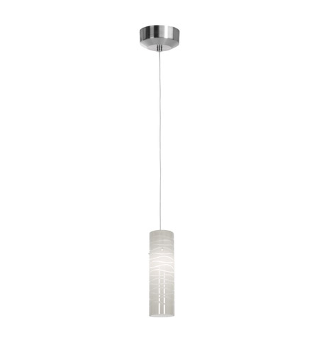Access Lighting Tungsten 1 Light Pendant in Brushed Steel with White Lined Glass 94932LED-4-BS/WHTLN photo