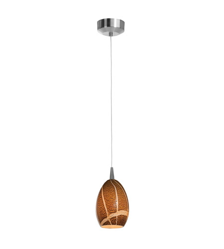 Access Lighting Tungsten 1 Light LED Pendant with Safari Glass in Brushed Steel with Amazon Glass 72936LED-BS/AMZ photo