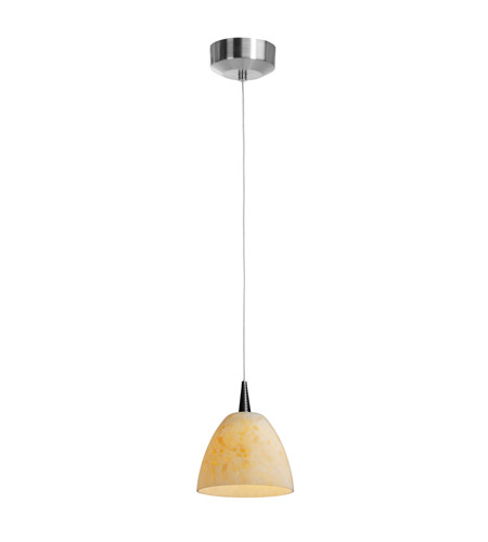 Access Lighting Tungsten 1 Light LED Pendant with Fire(l) Glass in Brushed Steel 72942-BS/AMM photo