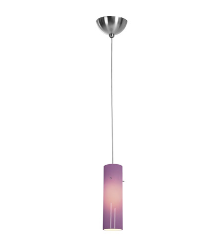 Access Lighting Alpha 1 Light Low Voltage Pendant with Anari Silk Glass in Brushed Steel with Plum Glass 90932-BS/PLM photo