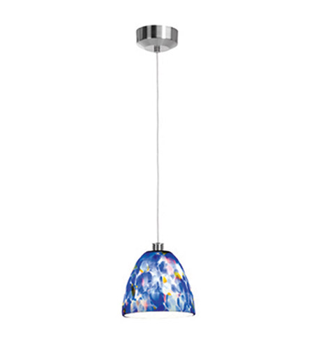 Access Lighting Beta 1 Light Mini-Pendant in Brushed Steel 92942-BS/BLU photo