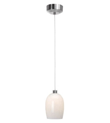 Access Lighting Beta 1 Light Mini-Pendant in Brushed Steel 92961-BS/WHT photo