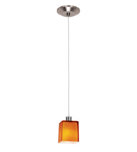 Access Lighting Gamma 1 Light Mini-Pendant in Brushed Steel 93918-BS/AMB photo