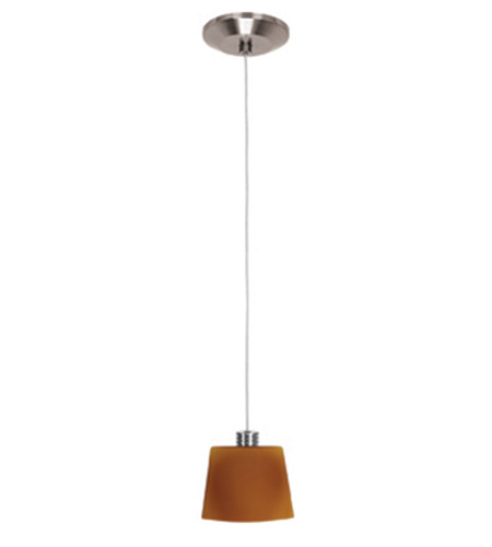 Access Lighting Gamma 1 Light Line Voltage Pendant with Thea Glass in Brushed Steel 93920-BS/AMB photo