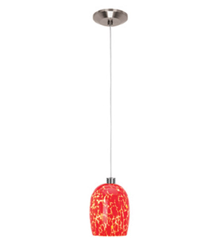 Access Lighting Gamma 1 Light Mini-Pendant in Brushed Steel 93961-BS/RED photo