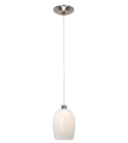 Access Lighting Gamma 1 Light Mini-Pendant in Brushed Steel 93961-BS/WHT photo