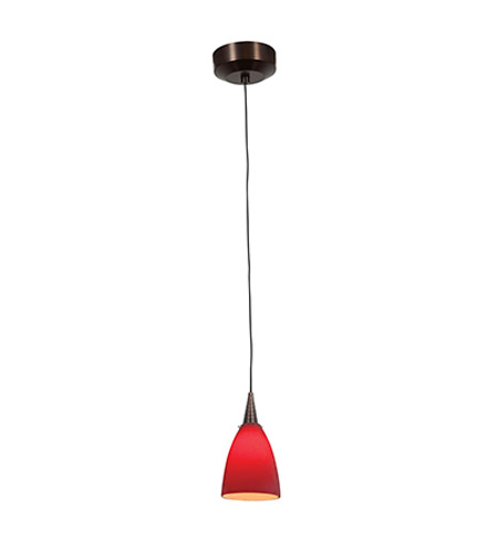 Access Lighting Zeta 1 Light Pendant in Bronze with Red Glass 94019-12V-1-BRZ/RED photo