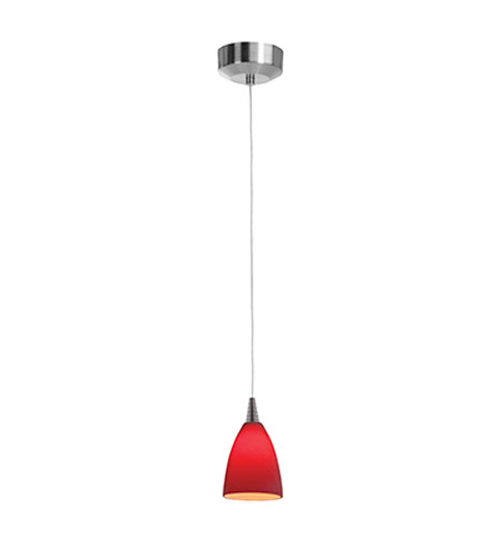Access Lighting Zeta 1 Light Pendant in Brushed Steel with Red Glass 94019-12V-3-BS/RED photo