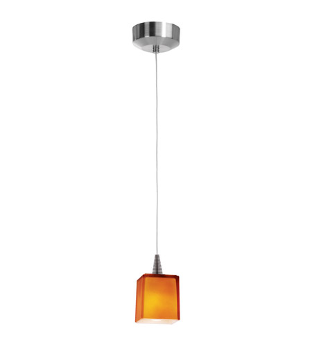 Access 94918-BS/AMB Zeta 1 Light 3 inch Brushed Steel Mini-Pendant Ceiling Light in Amber photo