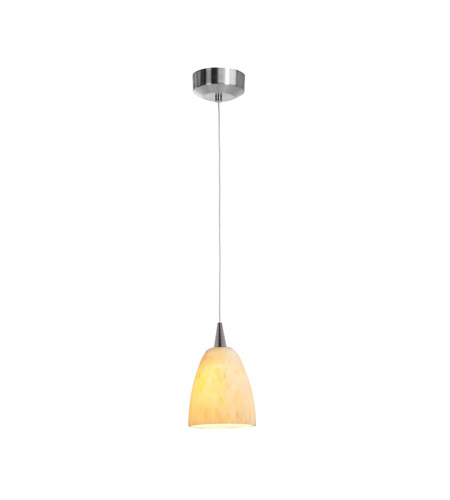 Access Lighting Zeta 1 Light Pendant in Brushed Steel with Amber Marble Glass 94941-12V-3-BS/AMM photo