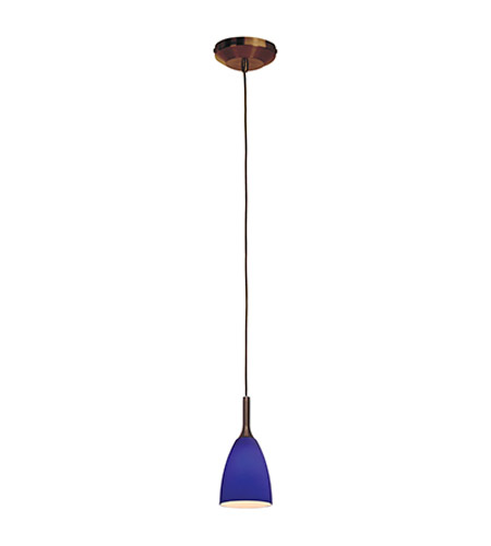 Access Lighting Omega 1 Light Pendant in Bronze with Cobalt Blue Glass 96019-BRZ/COB photo