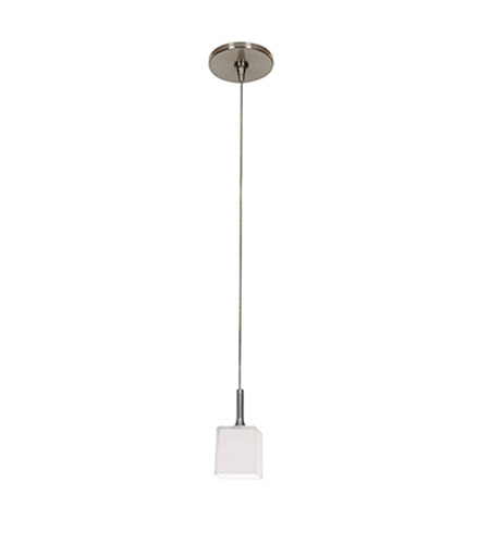 Access Lighting Omega 1 Light Pendant in Brushed Steel with Opal Glass 96918-12V-0-BS/OPL photo