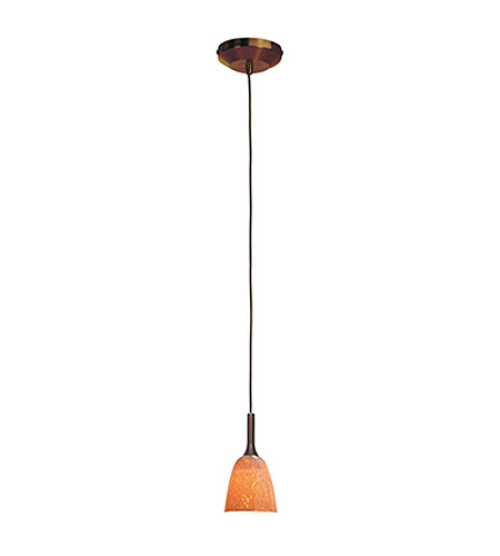 Access Lighting Omega 1 Light Low Voltage Pendant with Safari Glass in Bronze with Silver Amber Glass 96924-BRZ/SLA photo