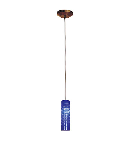 Access Lighting Omega 1 Light Low Voltage Pendant with Anari Silk Glass in Bronze with Blue Lined Glass 96932-BRZ/BLULN photo