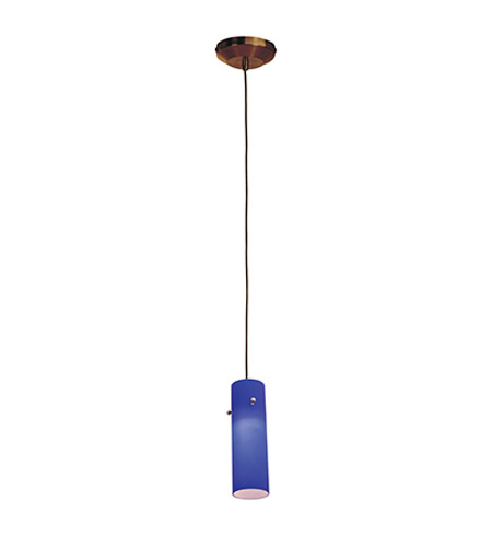 Access Lighting Omega 1 Light Low Voltage Pendant with Anari Silk Glass in Bronze with Cobalt Glass 96932-BRZ/COB photo