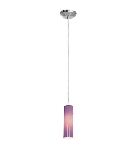Access Lighting Omega 1 Light Low Voltage Pendant with Anari Silk Glass in Brushed Steel with Plum Glass 96932-BS/PLM photo