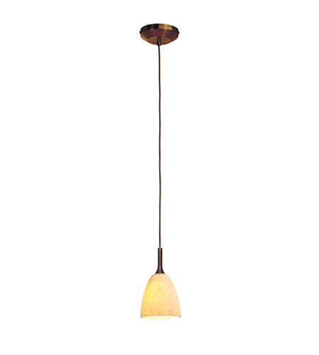 Access Lighting Omega 1 Light Low Voltage Pendant with Fire(s) Glass in Bronze with Amber Marble Glass 96941-BRZ/AMM photo