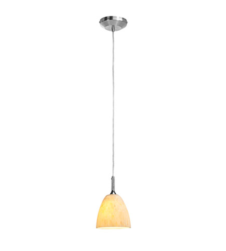 Access Lighting Omega 1 Light Pendant in Brushed Steel with Amber Marble Glass 96942-12V-2-BS/AMM photo