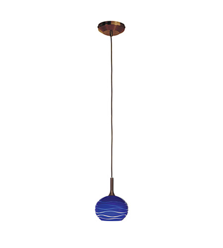 Access Lighting Omega 1 Light Low Voltage Pendant with SphereEtched Glass in Bronze with Blue Lined Glass 96979-BRZ/BLULN photo