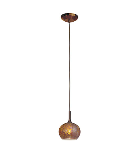 Access Lighting Omega 1 Light Pendant in Bronze with Silver Amber Opaline Glass 96980-12V-1-BRZ/SAO photo