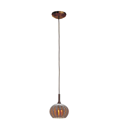 Access Lighting Omega 1 Light Pendant in Bronze with Silver Amber Ribbed Opaline Glass 96980-12V-3-BRZ/SARO photo