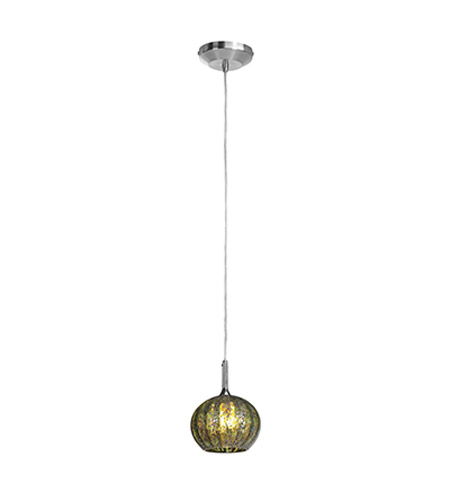 Access Lighting Omega 1 Light Pendant in Brushed Steel with Green Opaline Glass 96980-12V-2-BS/GRO photo