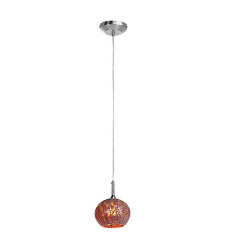 Access Lighting Omega 1 Light Pendant in Brushed Steel with Red Ribbed Opaline Glass 96980-12V-0-BS/RRO photo