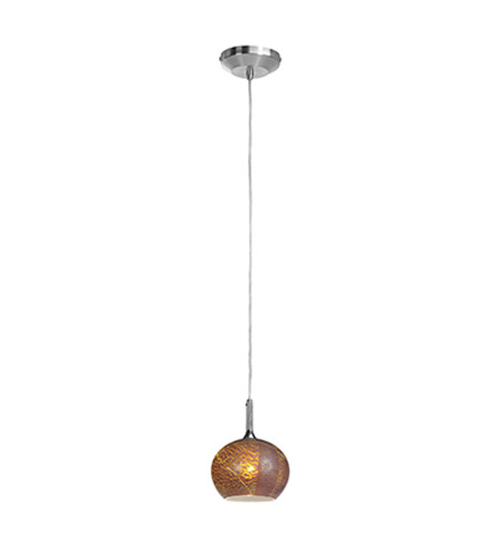 Access Lighting Omega 1 Light Pendant in Brushed Steel with Silver Amber Opaline Glass 96980-12V-2-BS/SAO photo