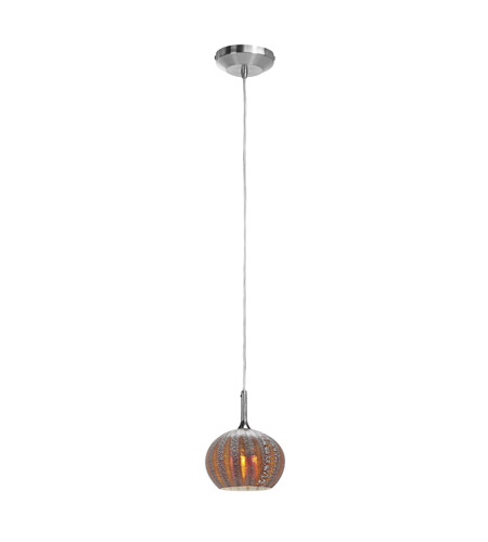 Access Lighting Omega 1 Light Pendant in Brushed Steel with Silver Amber Ribbed Opaline Glass 96980-12V-3-BS/SARO photo