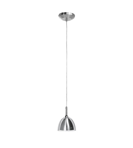 Access Lighting Delta 1 Light Pendant in Brushed Steel with Brushed Steel in Clear Glass Glass 96121-12V-2-BS/BSC photo