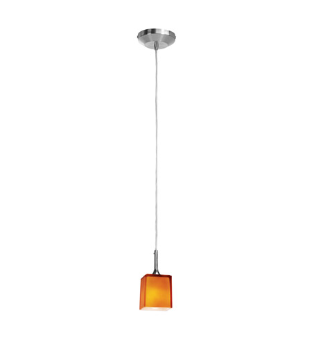 Access Lighting Delta 1 Light Pendant in Brushed Steel with Amber Glass 96918-120V-5-BS/AMB photo