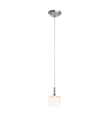 Access Lighting Delta 1 Light Pendant in Brushed Steel with Opal Glass 96918-120V-5-BS/OPL photo