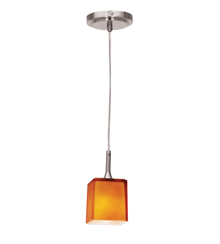 Access Lighting Delta 1 Light Mini-Pendant in Brushed Steel 97918-BS/AMB photo